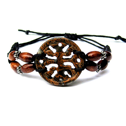 Stone and Wood Wrap Bracelet