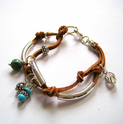 Double Treasure Leather and Silver Bracelet