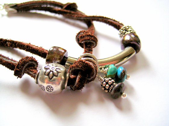 Double Bounty Leaather Silver Turquoise Bracelet