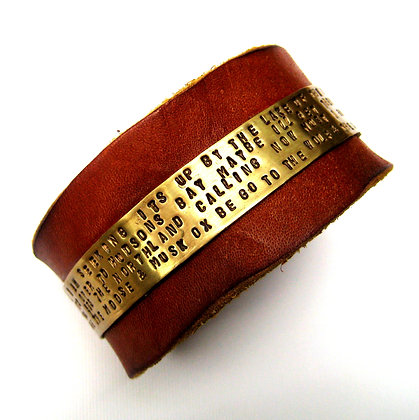 Robert Service Quote Leather & Brass Cuff Bracelet