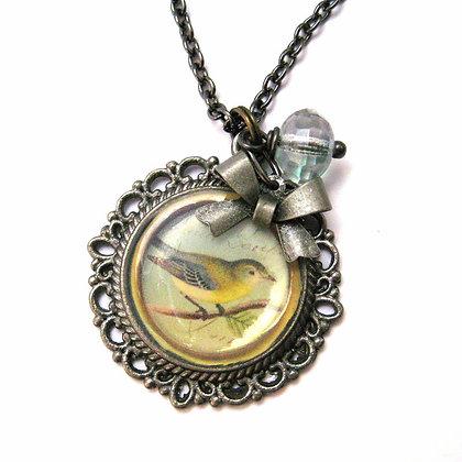Gray Bird Filigree Pendant Necklace