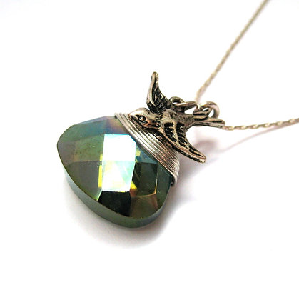 Faceted Crystal Necklace with Bird Charm