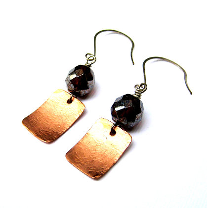 Hammered Copper and Glass Earrings