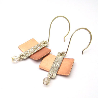 Baroque Copper and Fine Silver Earrings