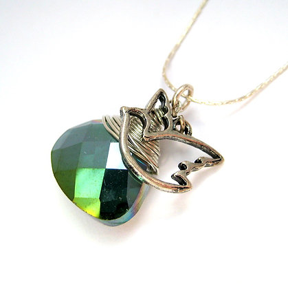 Faceted Crystal Necklace with Open Bird Charm