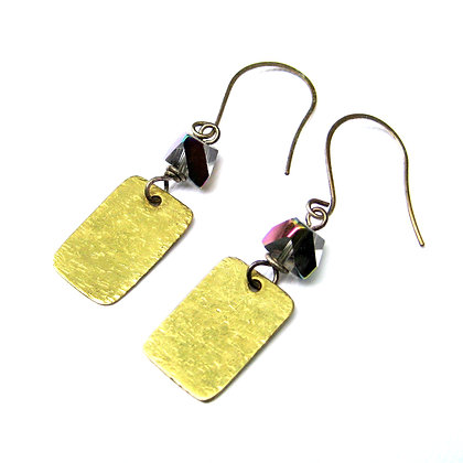 Hammered Brass and Glass Earrings