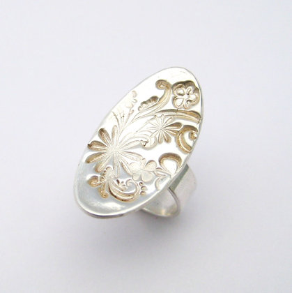 Oval Floral Statement Ring