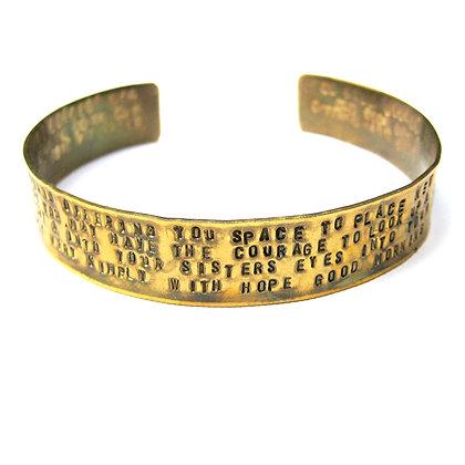 Hand Stamped Quote Brass Cuff Bracelet