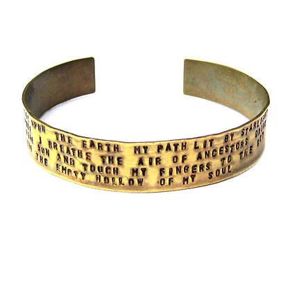 """An Unfinished Soul"" Stamped Quote Cuff Bracelet"