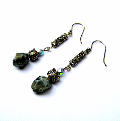 Green Marble Nugget Earrings