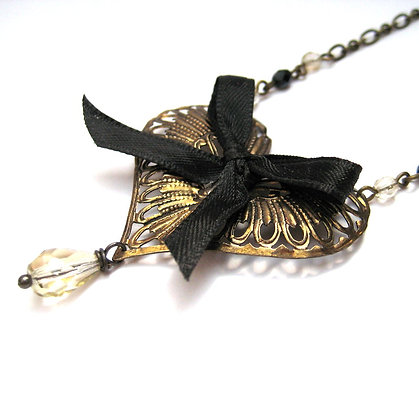Large Brass Filigree Heart Necklace