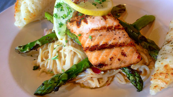 Folsom Pete's Charbroiled King Salmon Pasta Catering