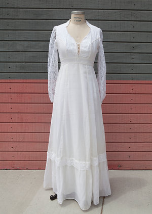 Late 1970's White Prairie Dress