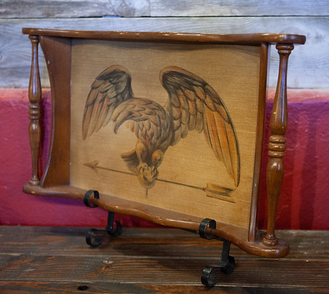 Antique Eagle Wood Tray & Stand