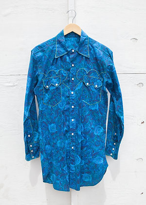 1970's Vintage Blue Rodeo Long Sleeve Shirt