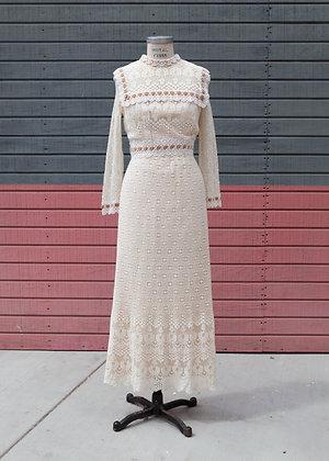 1960's Handmade Lace Gown Medium