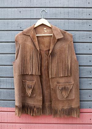 Vintage Brown Suede Fringe Vest Mens Large