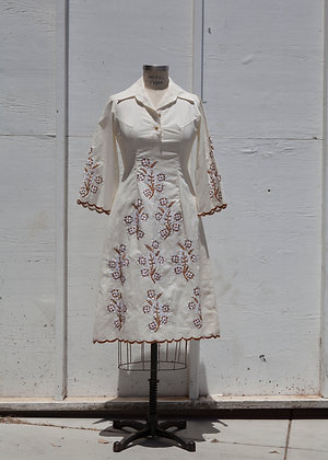 1960's Butterfly Embroidered Dress
