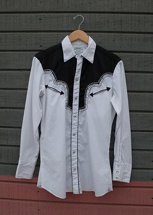 1970's H Bar C Black & White Pearl Snap Shirt