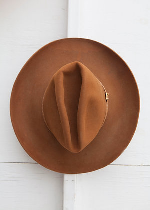 Vintage Larry Manhan Burnt Orange Cowboy Hat 7 1/2