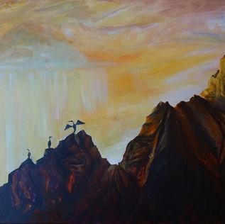 Cliffs with Orange Sky