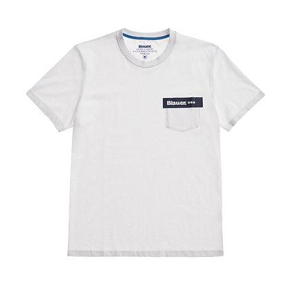 Blauer t-shirt con tasca 2136
