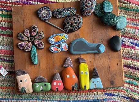 """We Rock"" Pebble Art in Cyprus"