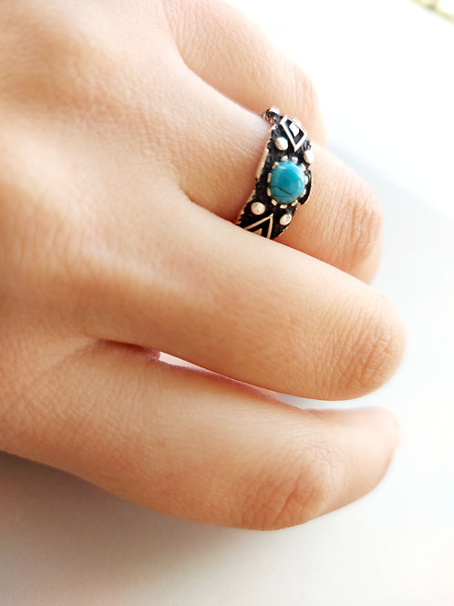 Turquoise silver ring with adjustable size