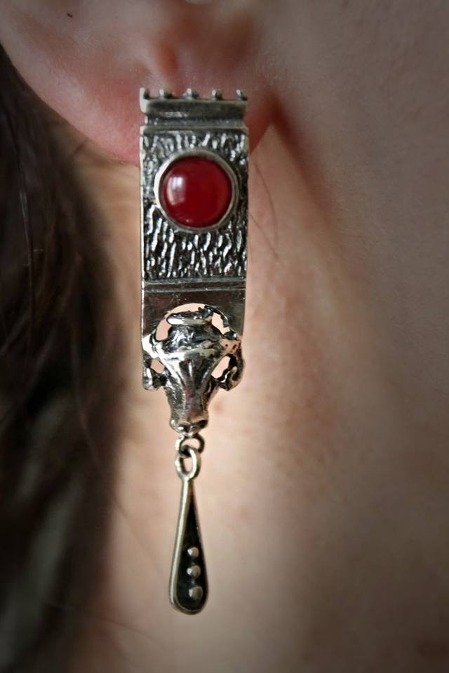 silver earring ''fortress''