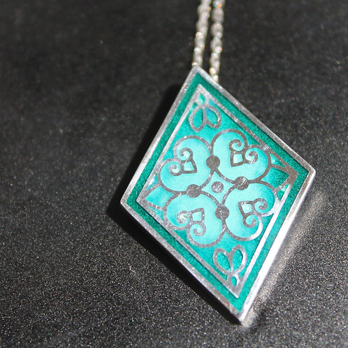 "Handmade Sterling Silver ""Air"" Enamel Pendant"