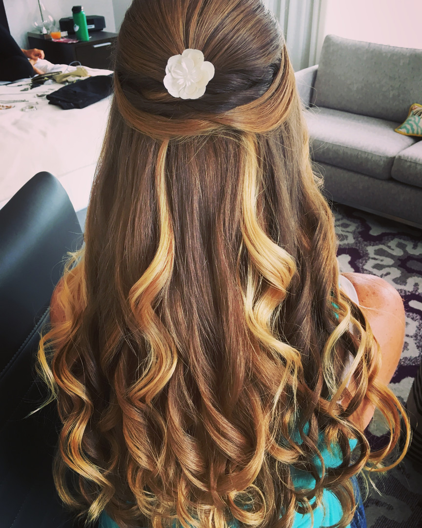 Hair Design / Updo Hairstyle, Down Style w/ Side Braid