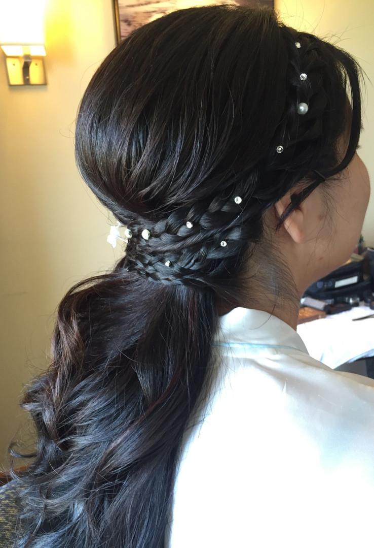 Wedding Hair Design / Updo Hairstyle, Down Style w/ Side Braid