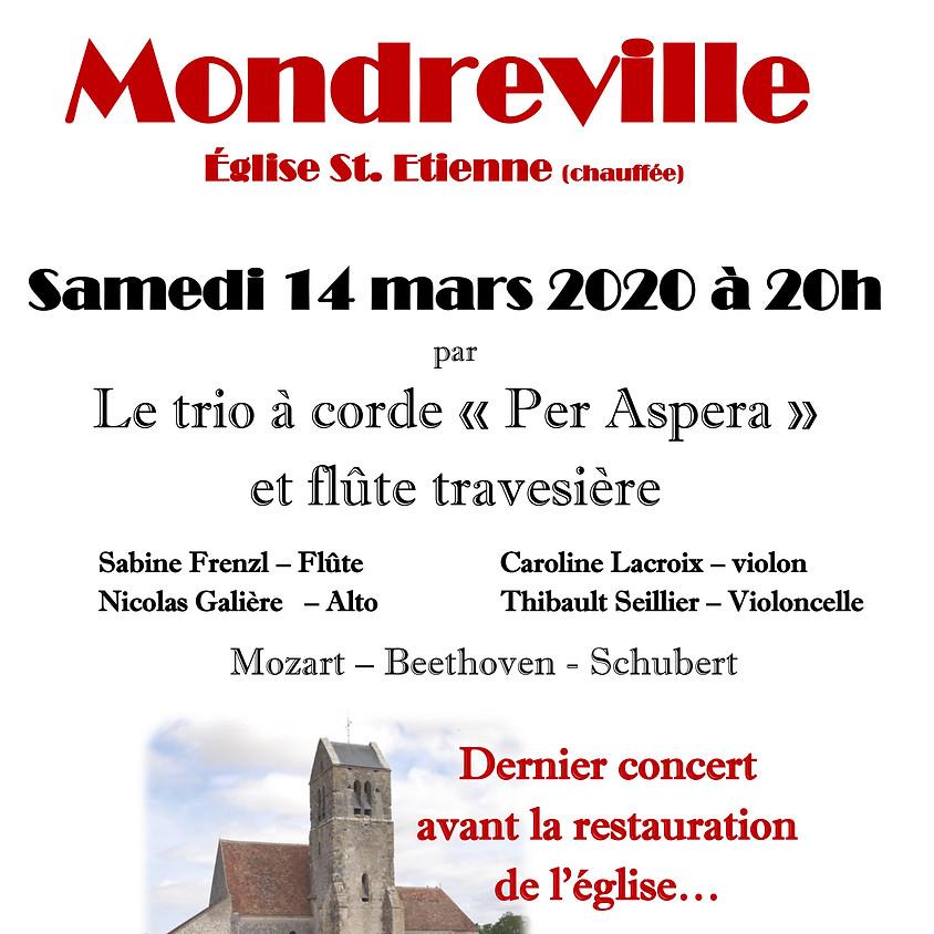 """Concert à Mondreville Trio à corde """"Per Aspera"""" et flute traversière"""
