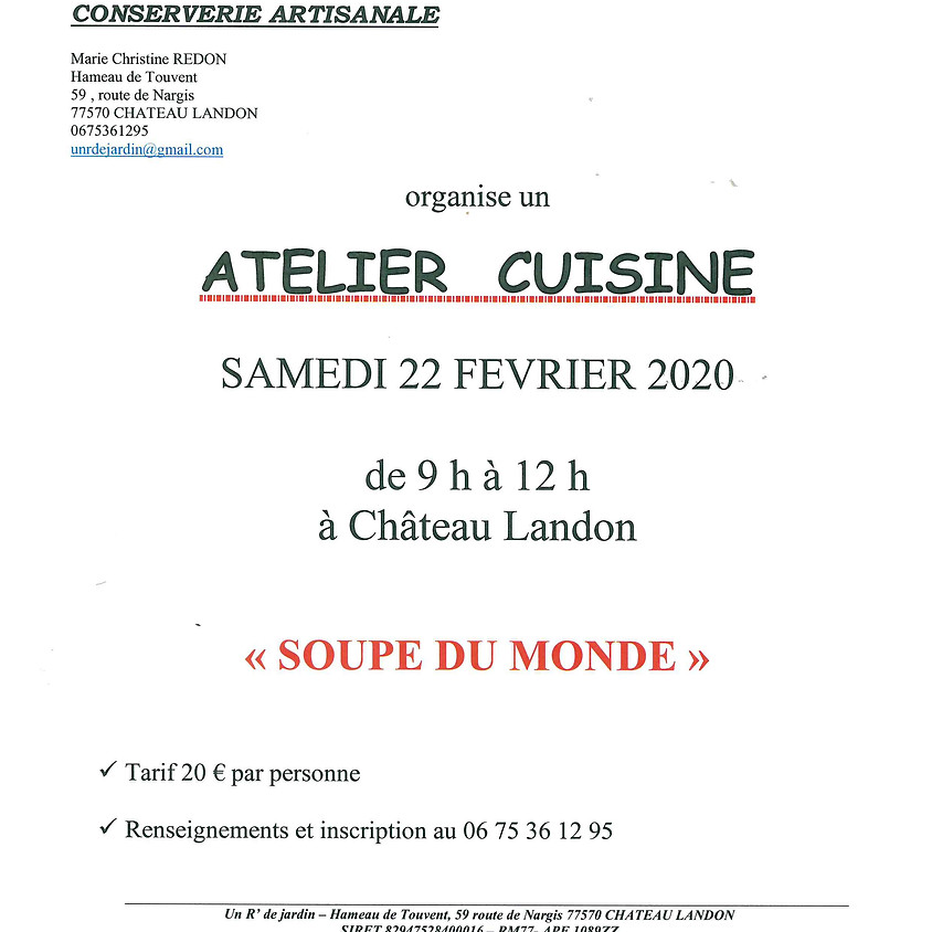 """Atelier cuisine """"Soupe du monde"""""""