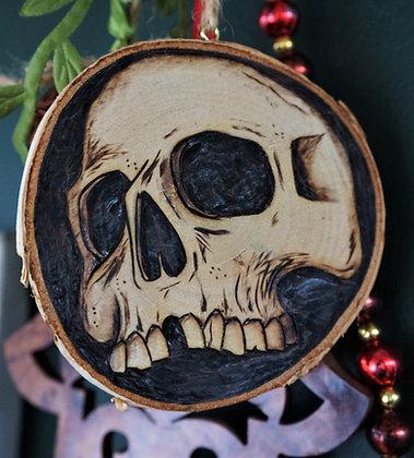 Skull Pyrography Wood Slice AP