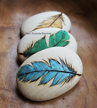 Handmade Wooden Feather Pebble with Pyrography AP