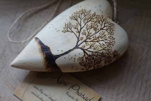 Wooden Heart With Tree Pyrography AP
