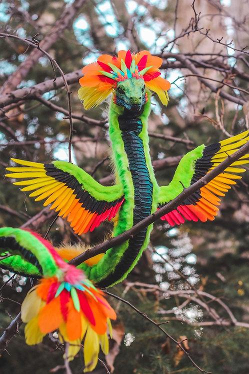 Handmade Poseable Quetzalcoatl Art Doll
