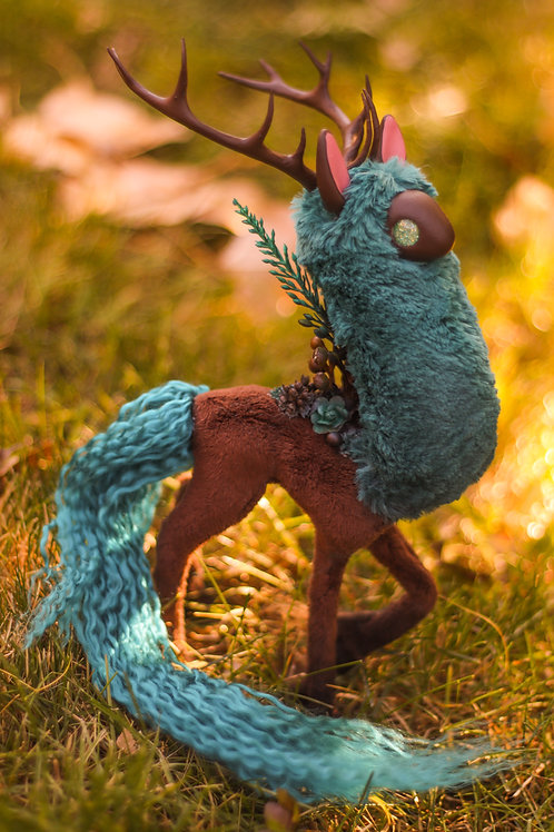 Handmade Poseable Aquamarine Spirit Art Doll