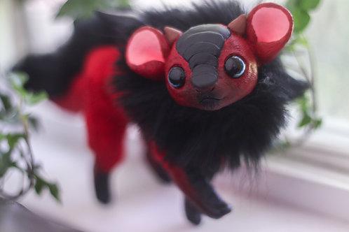Handmade Posesable  Crimson Mouse Dragon Art Doll