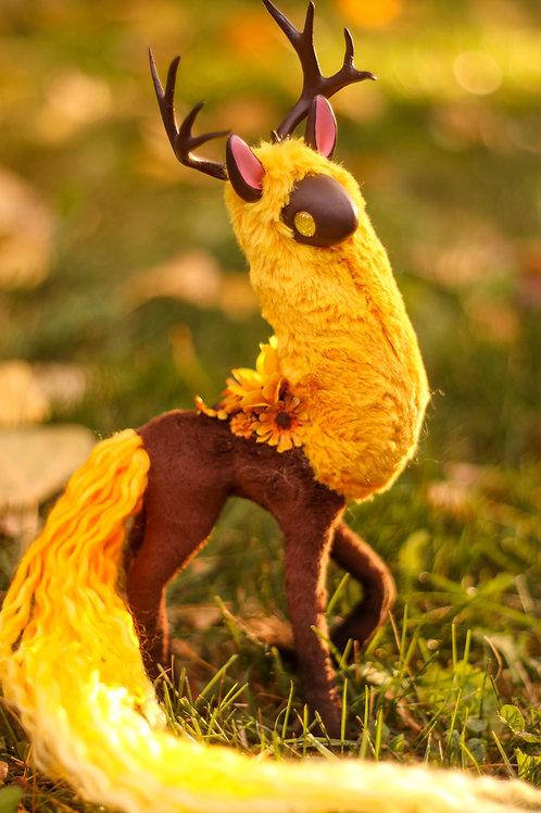 Handmade Poseable Sunflower Spirit Art Doll