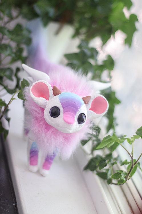 Handmade Posesable  Marshmallow Mouse Dragon Art Doll
