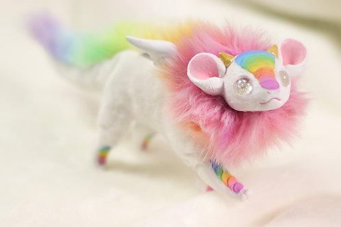 Handmade Posesable  Rainbow Mouse Dragon Art Doll