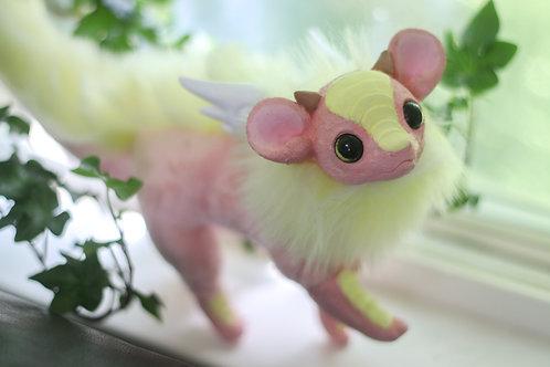Handmade Posesable  Strawberry Lemonade Mouse Dragon Art Doll
