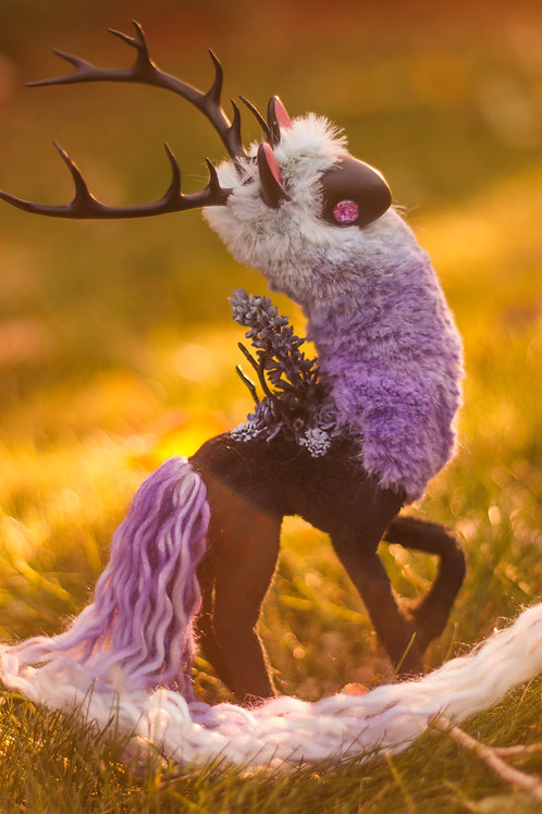 Handmade Poseable Lilac Spirit Art Doll