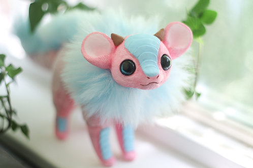 Handmade Posesable  Cotton Candy Mouse Dragon Art Doll