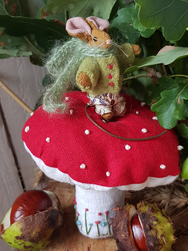 Miniature Collectable Mouse on Fly Agaric