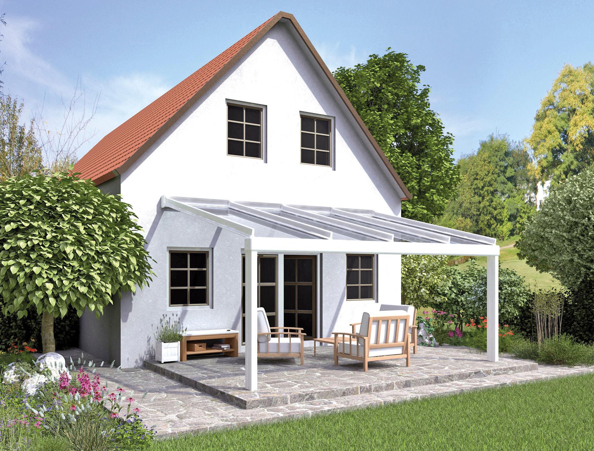 Terrassenüberdachung weiß