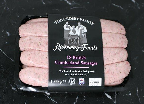 Sausages, Cumberland, 18 in pack, 1.36kg