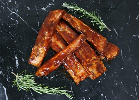 Pork Spare ribs in  Marinade, approx 2kg. Orchard farm out door bred.